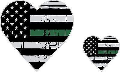 Tattered Army Wife / Army Girlfriend Thin Green Line Heart Flag Decal x2