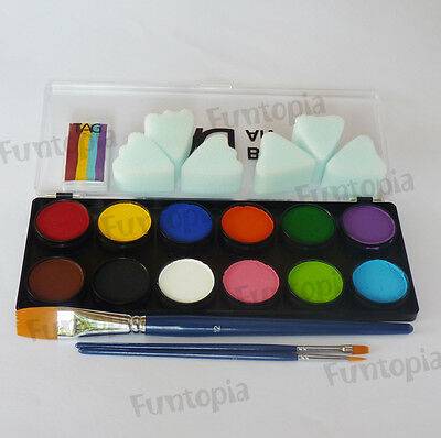 TAG 12x 10g Palette + brush sponge -TAG Face Body Paint Party Cosplay Halloween