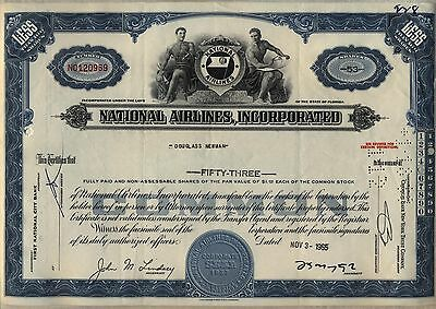 National Airlines Stock Certificate Florida