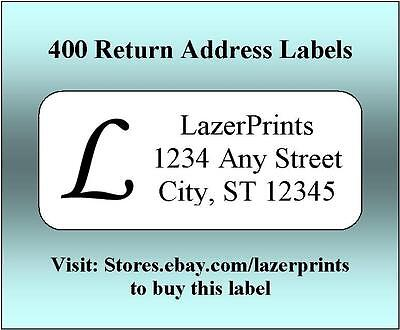 400 Personalized Return Address Labels.  1/2 x 1.75 Inch Monogrammed Labels.