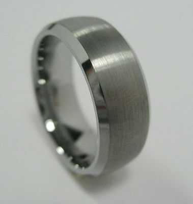 Fashion Tungsten Carbide Ring Band 8mm 10mm Brushed Beveled Edge Size 7.5 - 11