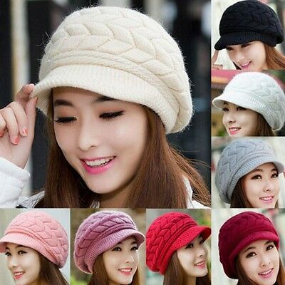 Casual Women Lady Winter Warm Rabbit Fur Baggy Slouch Cap Crochet Knit Hat