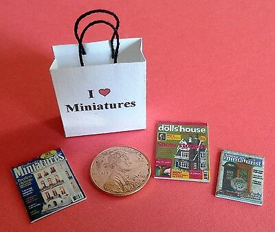 Dollhouse Miniature Gift Bag and Magazines