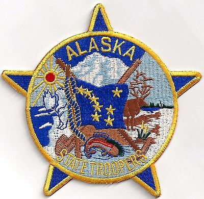 ALASKA STATE TROOPER - HAT SIZE / MINI IRON or SEW-ON PATCH