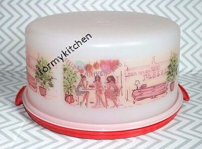"Tupperware Chit-Chat IZAK 12"" Large Maxi Round Cake Taker Double Pie Taker New!"