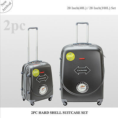 2PC 45L/100L Suitcases Luggage Trolley Travel Bag Set 4 Wheel Cabin CarryOn Case