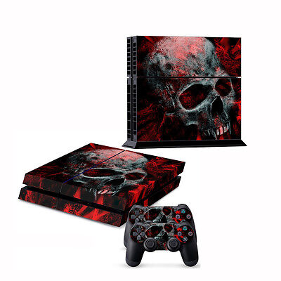 Fashion Sticker Cover Wrap For PS4 Console 2Controller Decal Black Dustproof