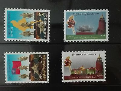 Mint Myanmar Burma stamps  59th, 60th Independence day