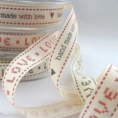 Hand Made With Love Natural Charms by Berisfords 15mm Ribbons Cards Craft Sewing