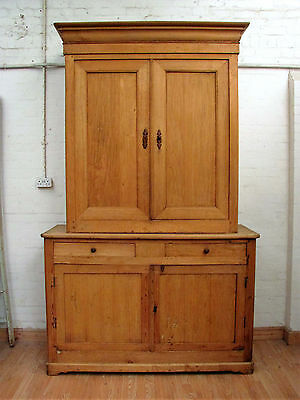 ENORMOUS ANTIQUE FRENCH PINE HOUSEKEEPERS CUPBOARD - c1900