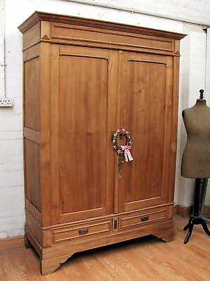 Charming Antique French Stripped Pine /poplar Armoire - C1910