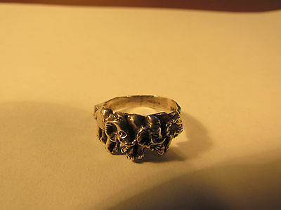 Vintage sterling silver 'three elephants' ring