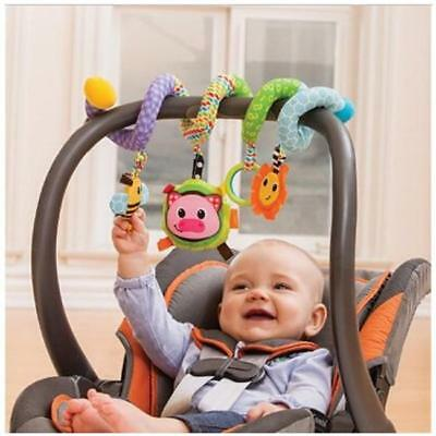 Baby Activity Toy Spiral Cot Crib Car Seat/Stroller Infant Rattle Soft Plush ONE