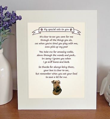 "Airedale Terrier 10"" x 8"" Free Standing 'Thank You' Poem Fun Gift FROM THE DOG"