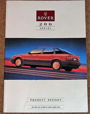 ROVER 200 SERIES Product Insight Training Manual Brochure for Sales Staff 1989