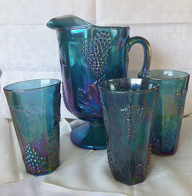 Blue Carnival Glass Pitcher and Three Glasses Harvest Grape Pattern