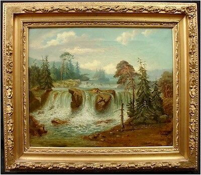 SPECTACULAR WATERFALL OIL ON CANVAS Mid-LATE 19TH CENTURY