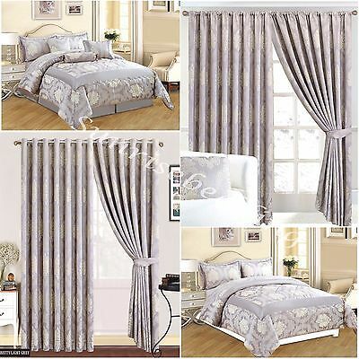 New 3pc & 7pc Jac L.Gry Quilted Comforter Set Bedspread + Matching Pair Curtains