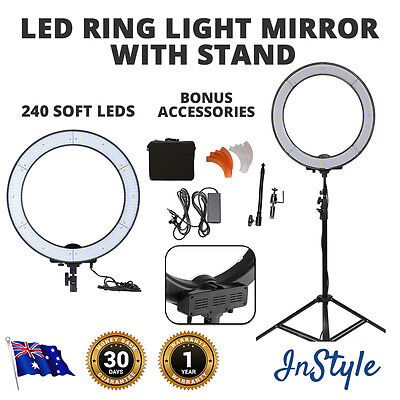 Dimmable Ring Light 55W 240 LEDs Camera CamcorderLights Pro Studio, Mirror Stand