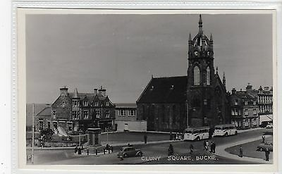 CLUNY SQUARE, BUCKIE: Banffshire postcard with buses (C21059)