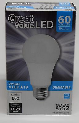 12 new LED A19 Daylight 60W replacement dimmable light bulbs made by TCP 5000K