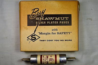 Vintage NOS Shawmut 70 Amp One-Time Silver Plated Fuse w/ Original Box