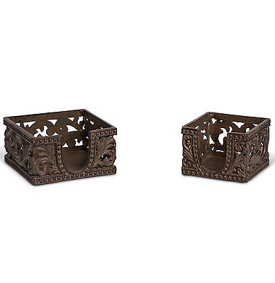The GG Collection Acanthus Leaf Set of 2 Asst Brown Metal Memo Note Holders