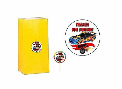 20 Hot Wheels 2 inch Stickers Party Bag Tags Favors Lollipops Personalize