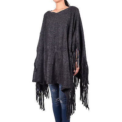Women's Fashion Solid Color Knitted Tassel Fringe Shawl Blanked Poncho Batwing