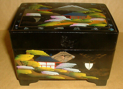 Vintage Made In Japan Lacquered Decorated Jewellery Box