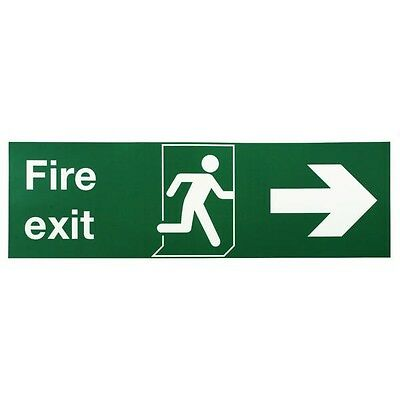Safety Sign Niteglo Fire Exit Running Man Arrow Right 150x450mm SR71669