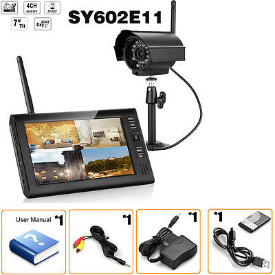 Wireless 2.4GHZ 4CH DVR Home Security System 1x Monitor + 1x Night Vision Camera