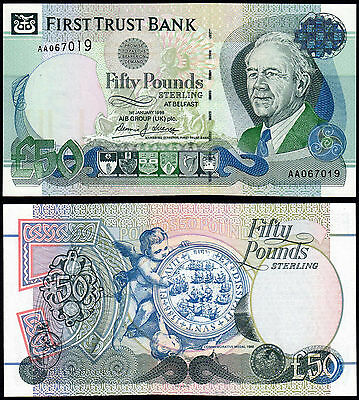 NORTHERN IRELAND 50 POUNDS (P138a) FIRST TRUST BANK AA- FIRST PREFIX 1998 UNC