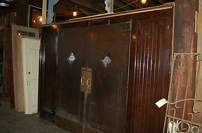Unique Antique Leather Entry Door Set. Studded Doors Deco Look