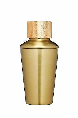 Barcraft Mini Cocktail Shaker with Brass Finish and Acacia Wood Lid