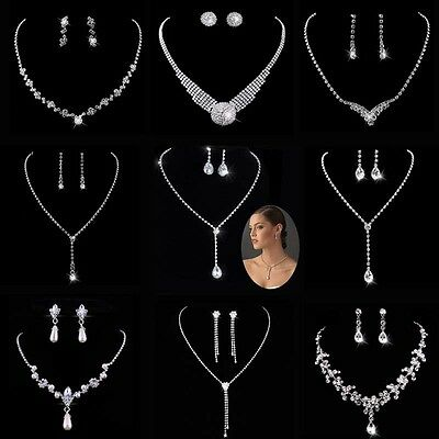Prom Wedding Bridal Silver Diamante Crystal Pearl Necklace Earrings Jewelry Sets