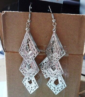 Ancient Silver Drops Hook Gold Plated Earrings