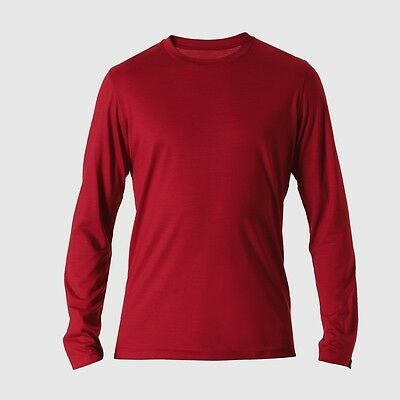 REDA Rewoolution Grab - Mens T-Shirt Long Sleeve 140, flame, Merinowolle