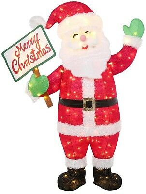 White LED Lighted Merry Christmas Santa Sculpture Indoor Outdoor Holiday Decor