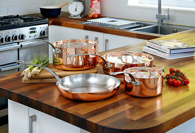 4 Piece State of the Art Copper Pan Set with Lids Frying Pan Saucepan French