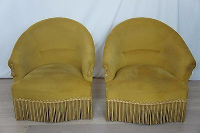 Pair Vintage French Tub Crapaud Gold Chairs
