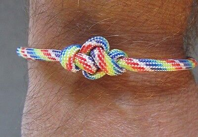 Rainbow Thong Paracord ETERNITY BRACELET - Adjustable Wristband - LGBT Pride