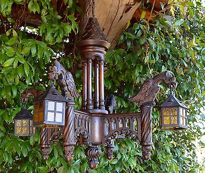French Large Antique Hand Carved Wood Light Lamp Chandelier - Gothic Griffin