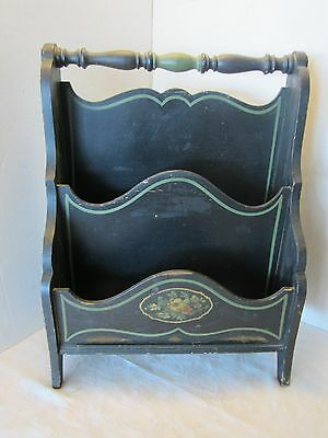"Antique wood magazine rack primitive furniture Black & Green US-Midwest 20.5"" H"