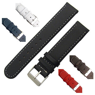 Leather watch strap band Contrast Stitched Choice of Colours 16mm 18mm 20mm C001
