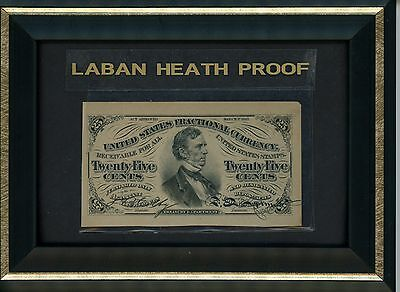 Twenty Five Cent Note Third Issue Fractional Currency Laban Heath Proof 1870's