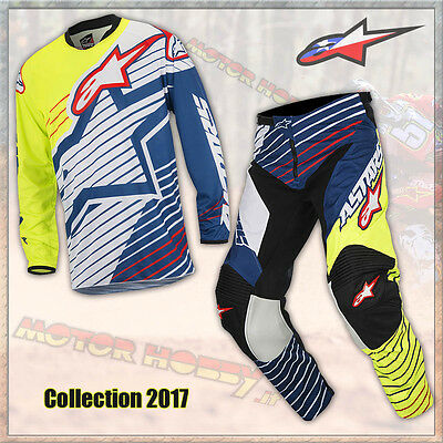 Completo Cross Enduro Alpinestars Racer Braap 2017 Yellow Fluo Dark Blue L - 34