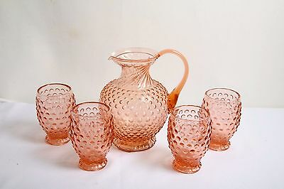 Vintage Tiara 5 Piece Set Indiana Glass Rose Hobnail Footed Pitcher and Glasses