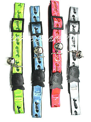 Cat Kitten Pet Reflective Fish Print Safety Clip Collar With Bell