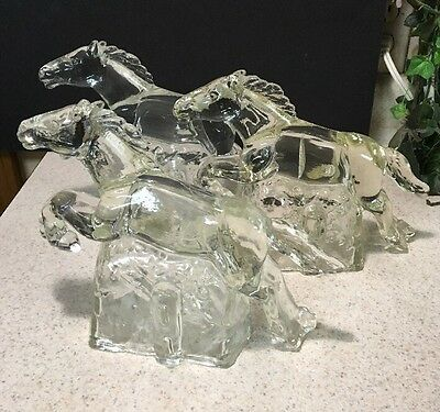 "1- Clear Glass Figurine Bookend Door Jumping Horse 10"" Long Doorstop Galloping"
